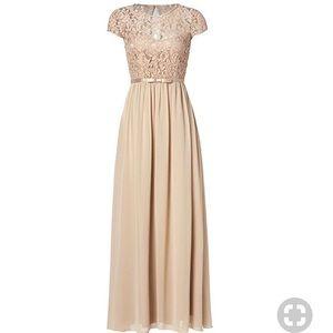SSYIZ Floral Lace Cap Sleeve Long Chiffon Dress